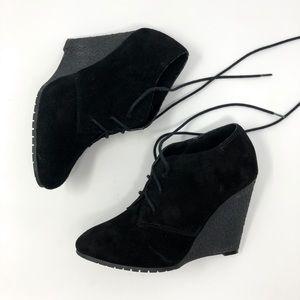Sam Edelman Effie Black Lace Up Bootie Wedge Heel